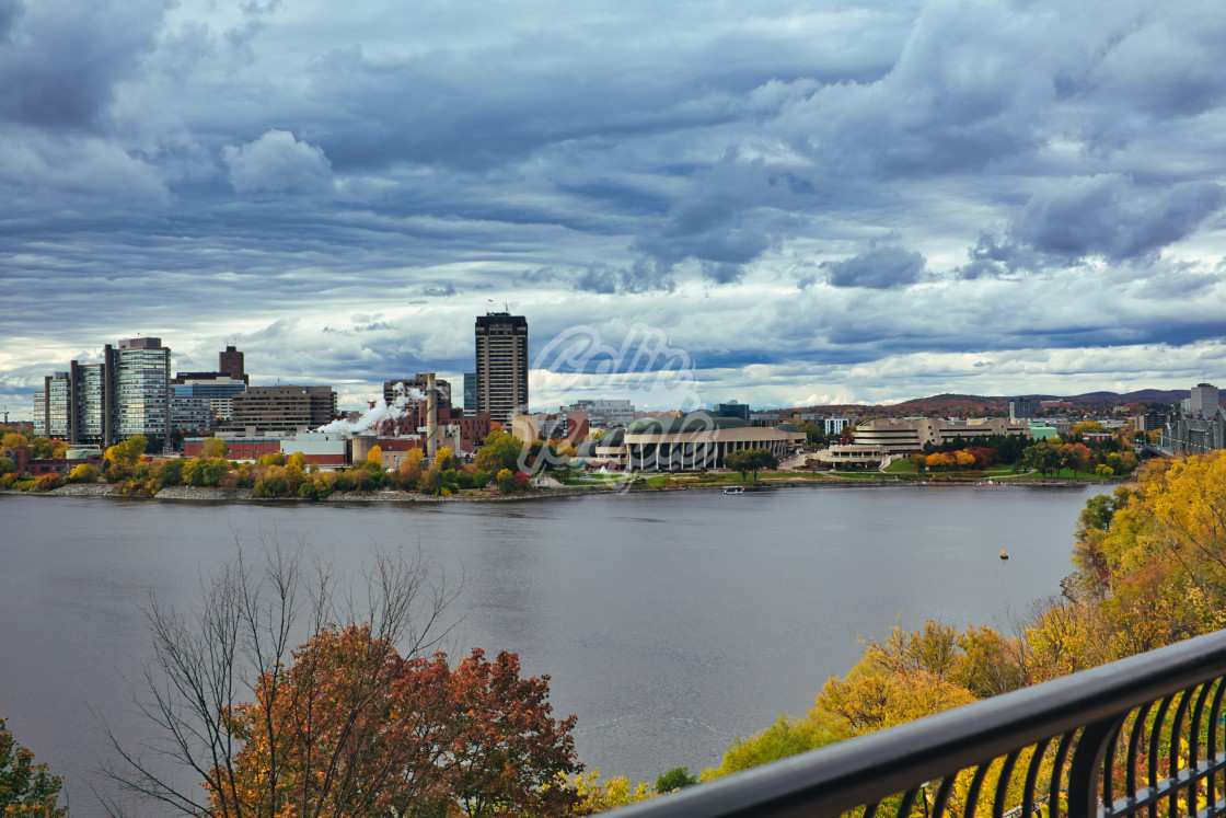 """Gatineau, Quebec across Ottawa River in Fall"" stock image"