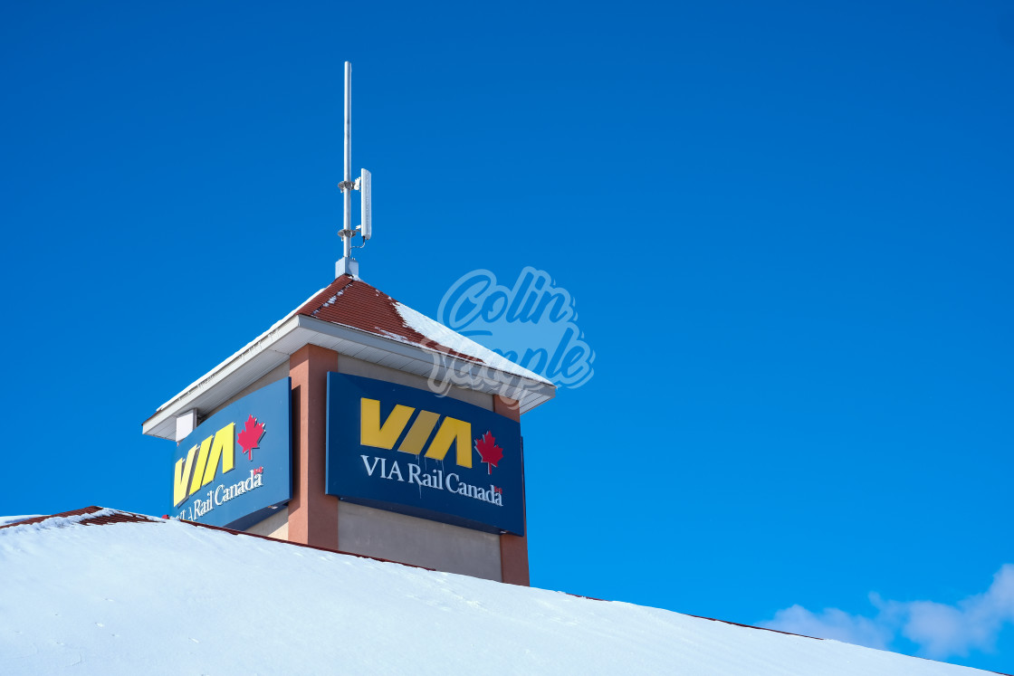 """VIA Rail Canada station sign in winter"" stock image"