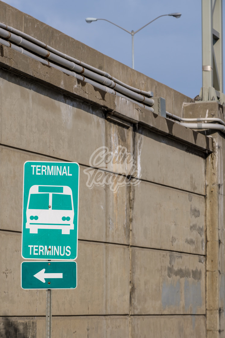 """Bilingual sign for bus station terminal"" stock image"