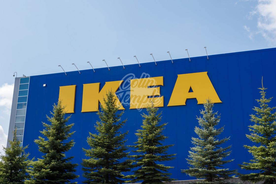 """IKEA Sign and pine trees at Ottawa, Canada storee"" stock image"