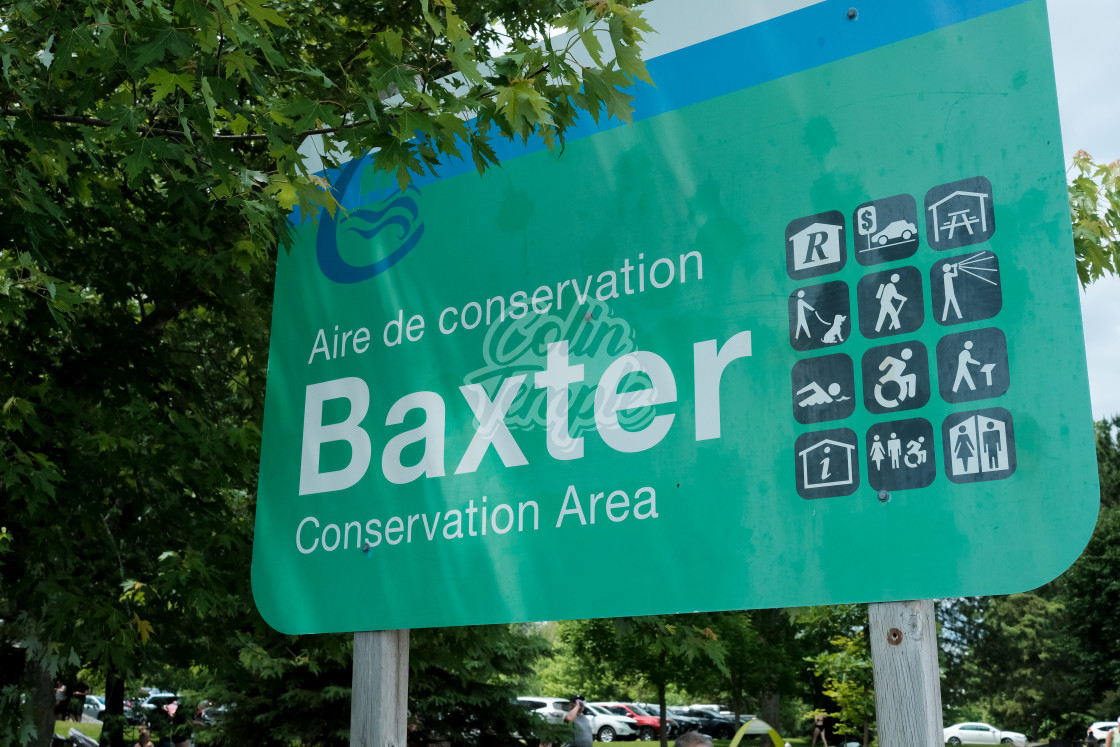 """""""Baxter Conservation Area sign on Rideau River"""" stock image"""