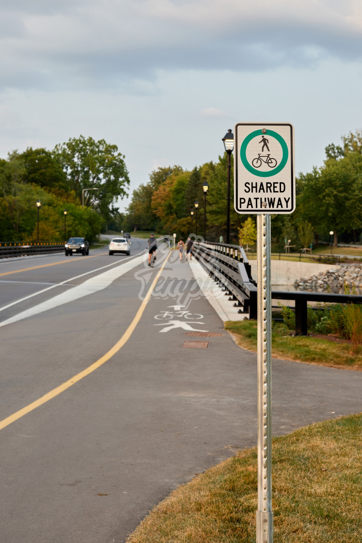 """""""Shared pathway for walking and cycling"""" stock image"""