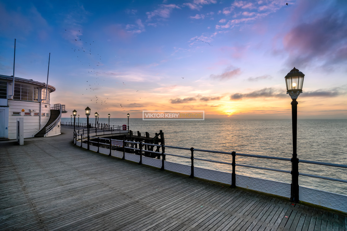 """Worthing sunset at the pier"" stock image"
