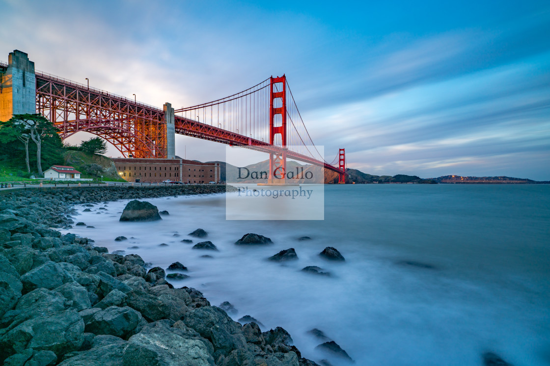 """Long exposure shot of Fort Point and Golden Gate Bridge"" stock image"