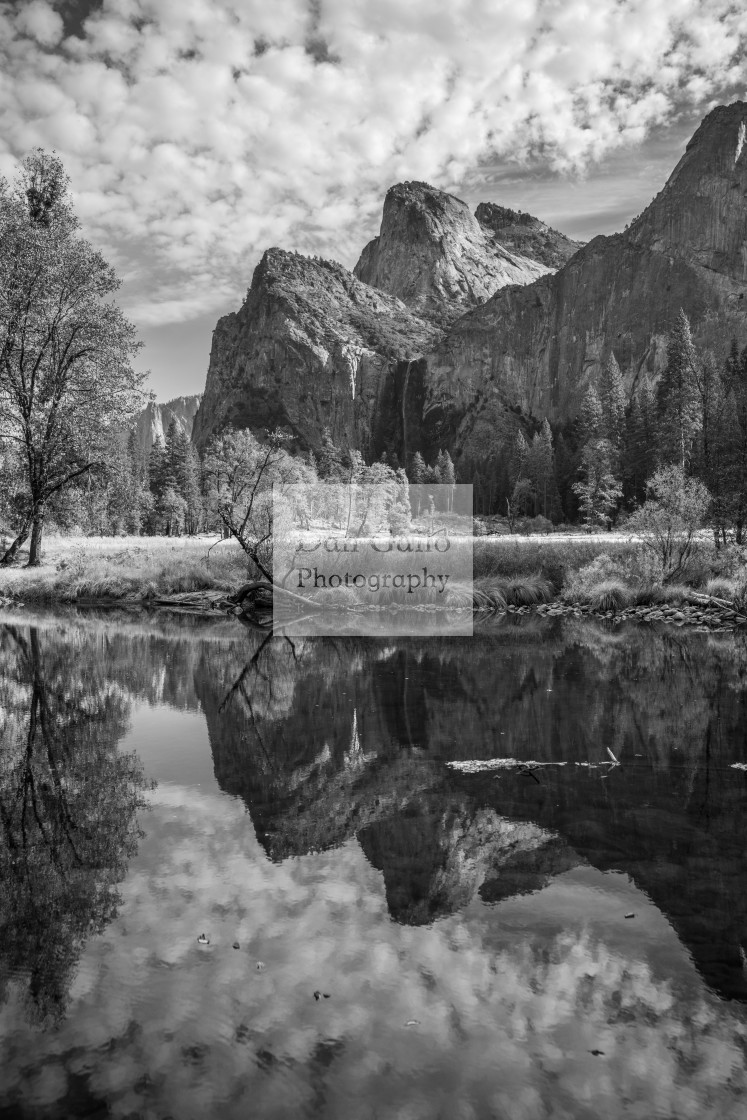 """Yosemite Valley Reflection (black and white)"" stock image"