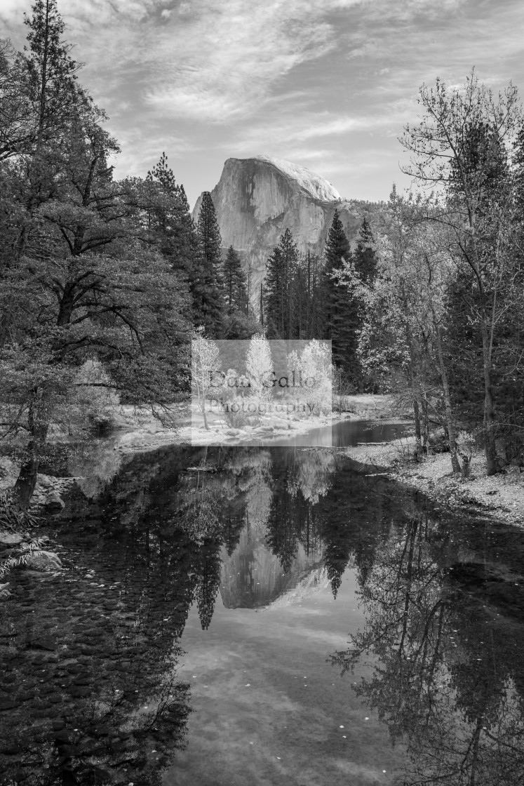 """Yosemite Half Dome Reflection (black & white)"" stock image"