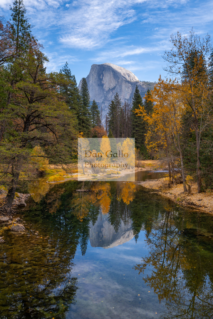 """Yosemite Half Dome Reflection (colour)"" stock image"