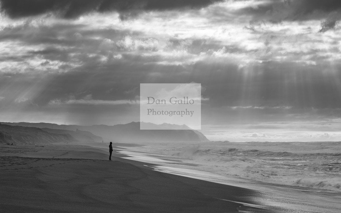 """Sunbeams and Waves (black & white)"" stock image"