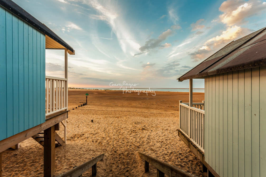 """""""Huts with a View"""" stock image"""