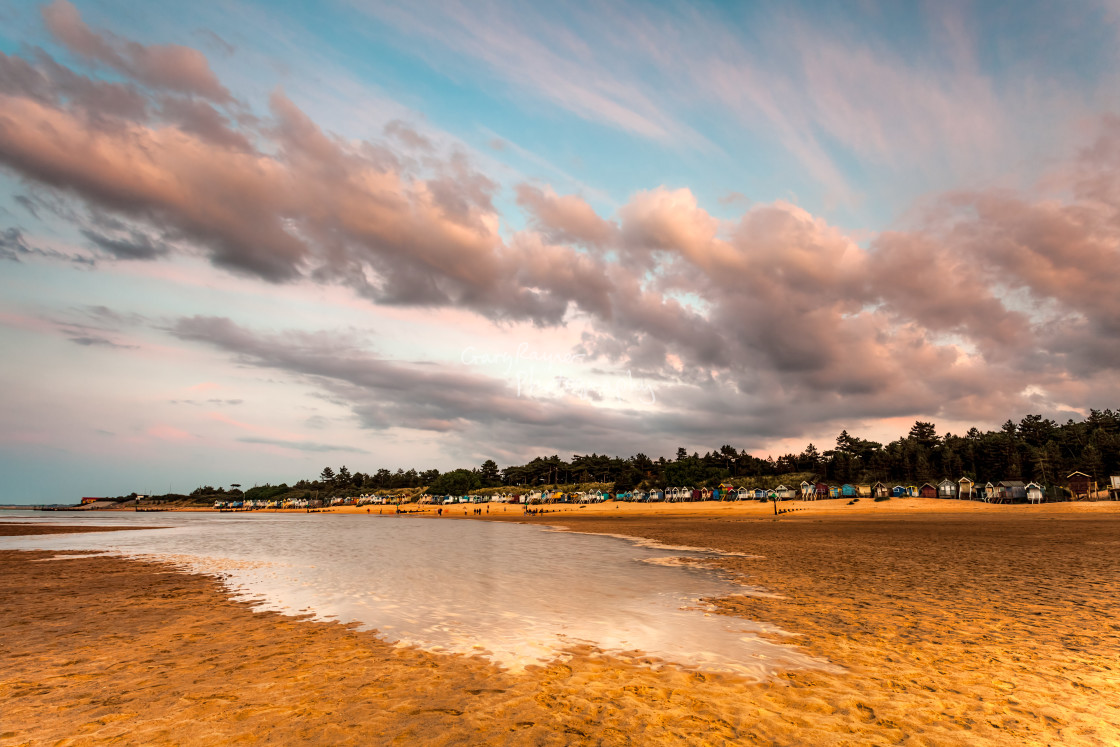 """Wells Beach at Dusk"" stock image"