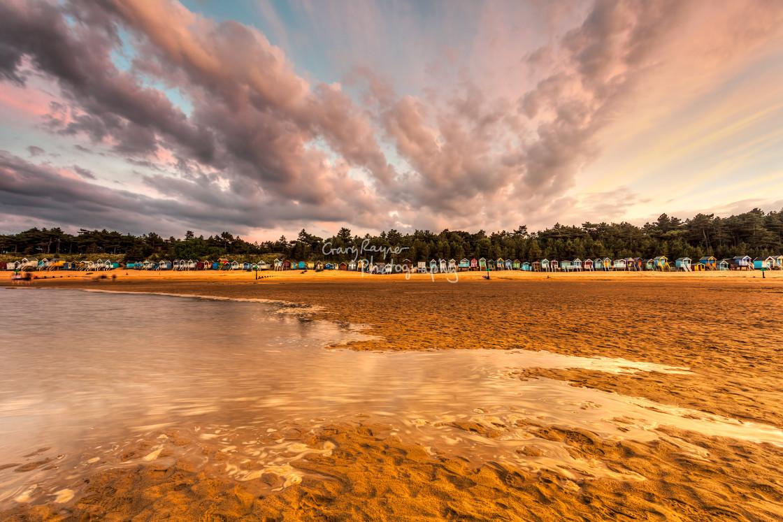 """Wells Beach at Dusk"" stock image"