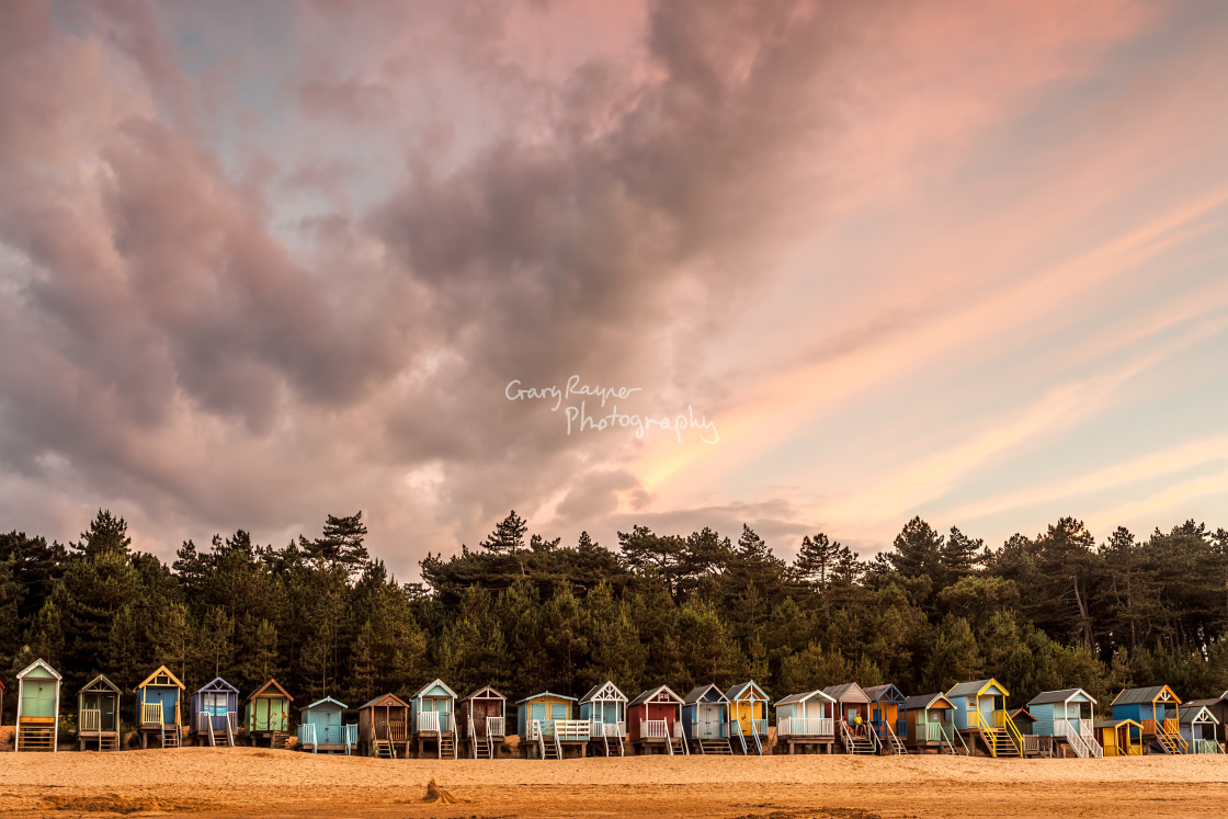 """Line of beach Huts"" stock image"