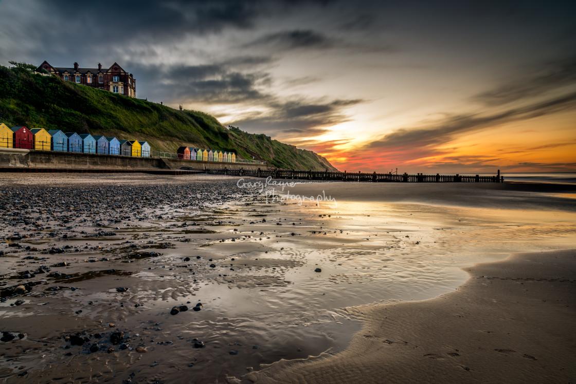 """Mundsley Beach at Sunset"" stock image"