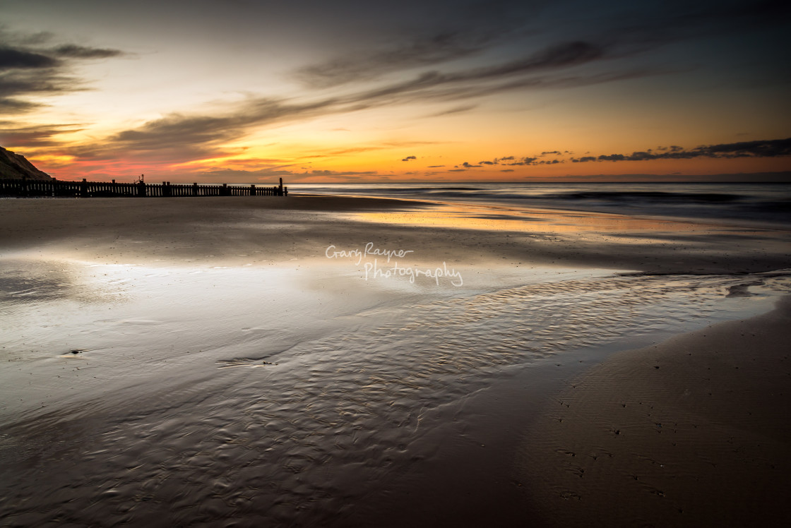 """Mundsley Beach at Sunset"" stock image"