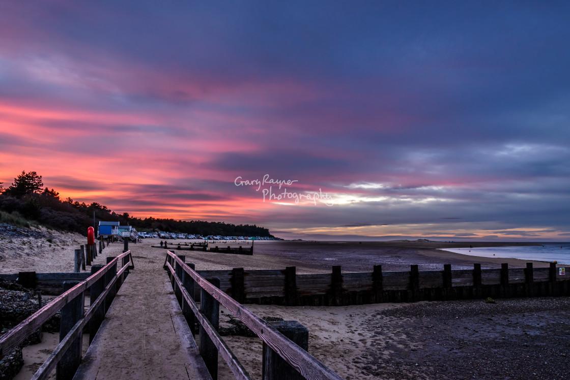 """Sunset on Wells Beach"" stock image"