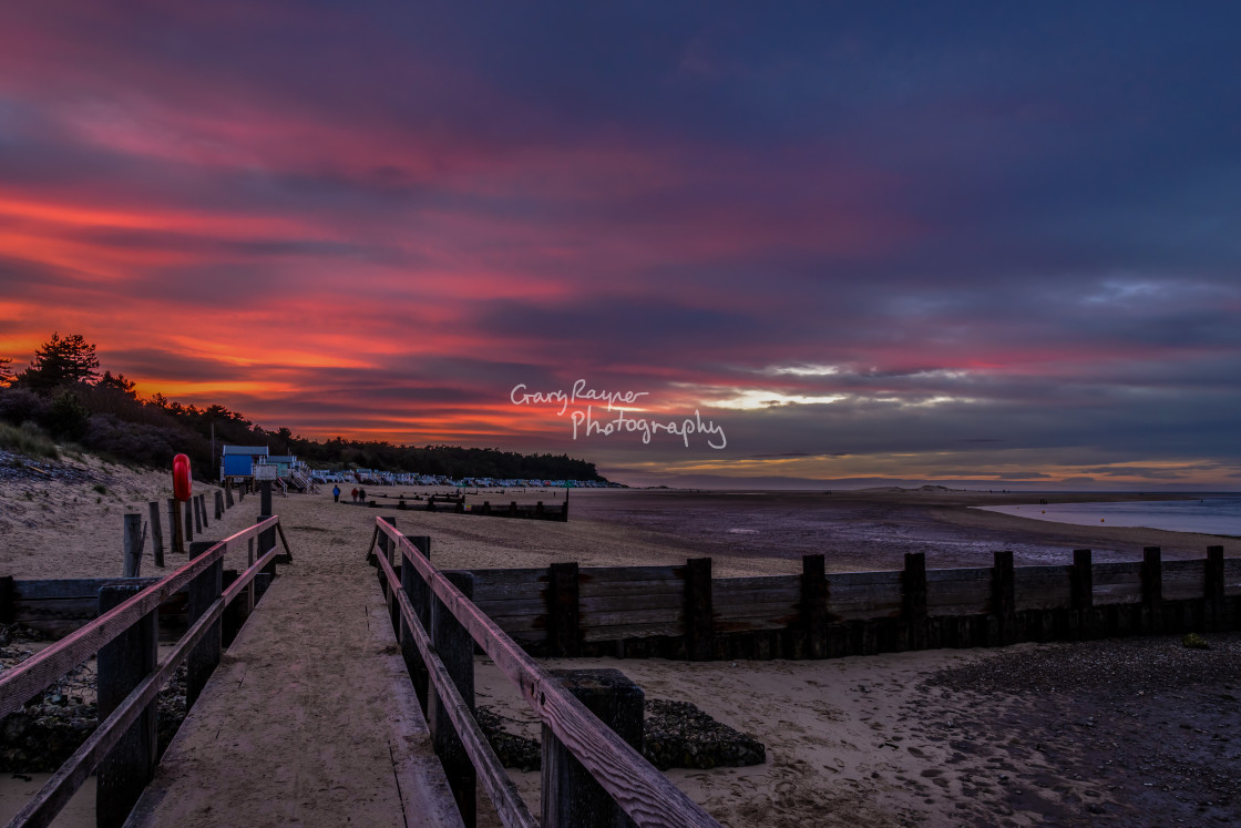 """Sunset on Wells Beach"" stock image"