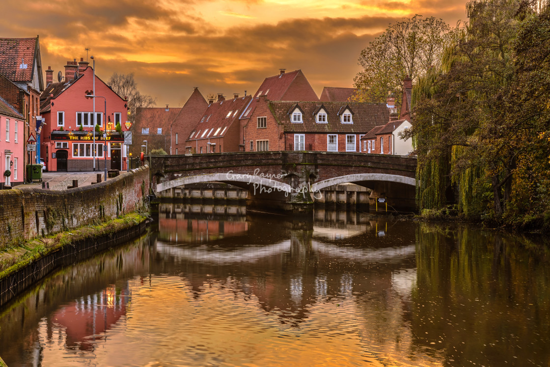 """Norwich River Sunset"" stock image"