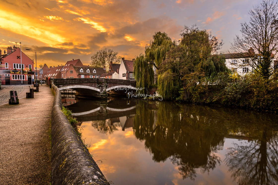 """""""Norwich River Sunset"""" stock image"""