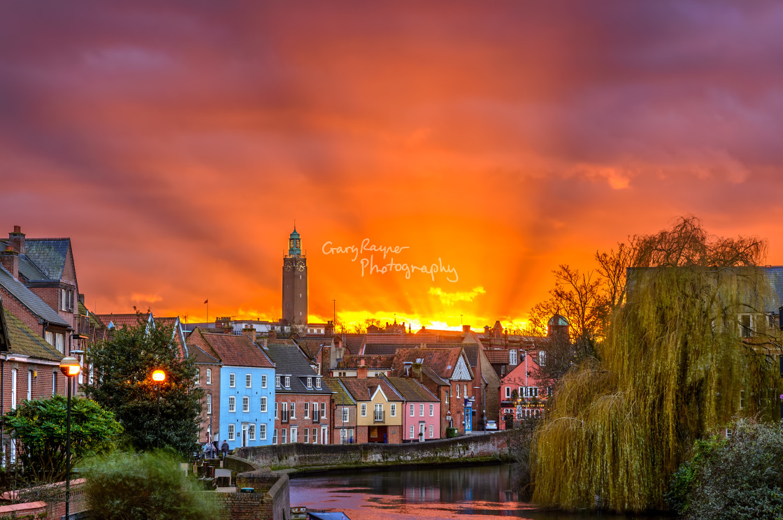 """Norwich Quay Side Sunset"" stock image"