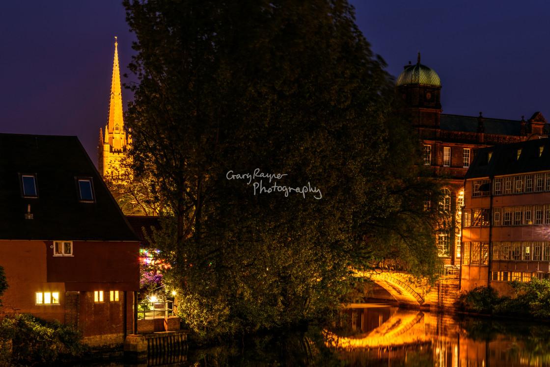 """Norwich City at Night"" stock image"