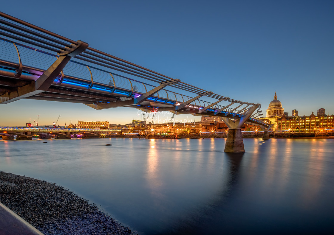 """Twilight Millenium Bridge"" stock image"