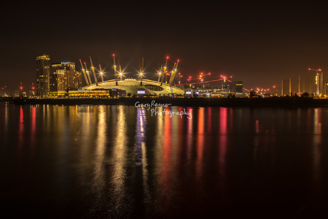 """The O2 lit up at Night"" stock image"