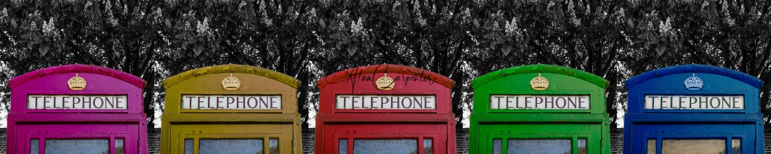 """""""Phone Boxes on Parade"""" stock image"""