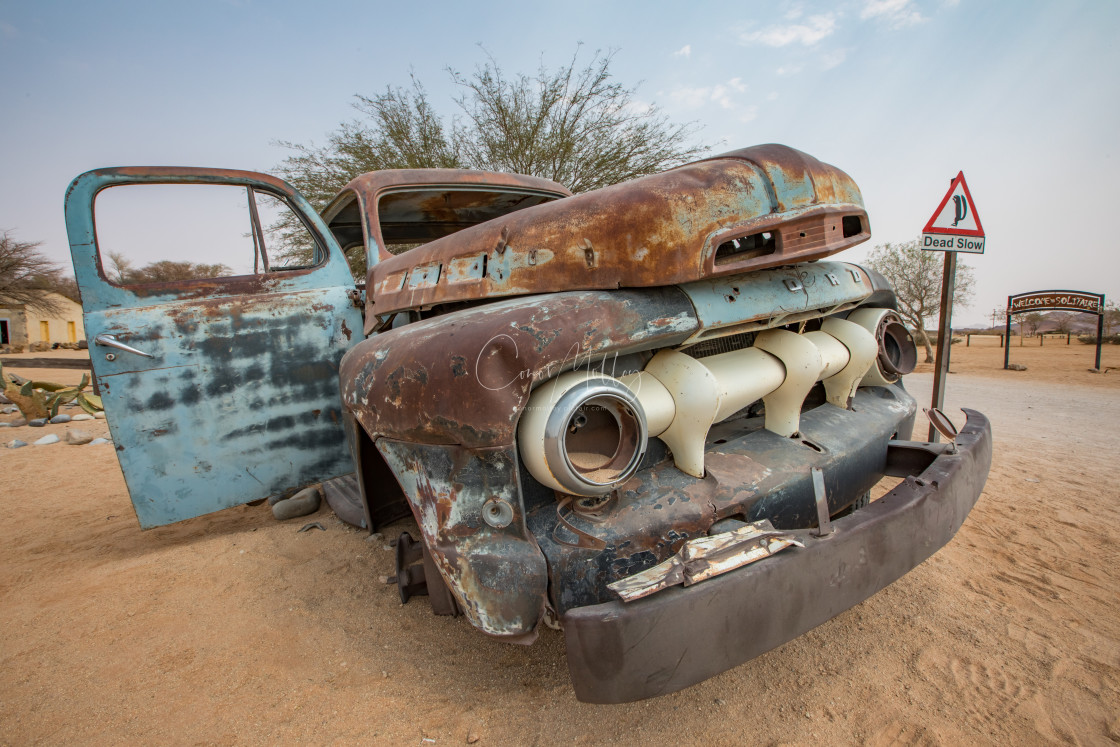 """""""old bangers at Solitaire, Namibia"""" stock image"""