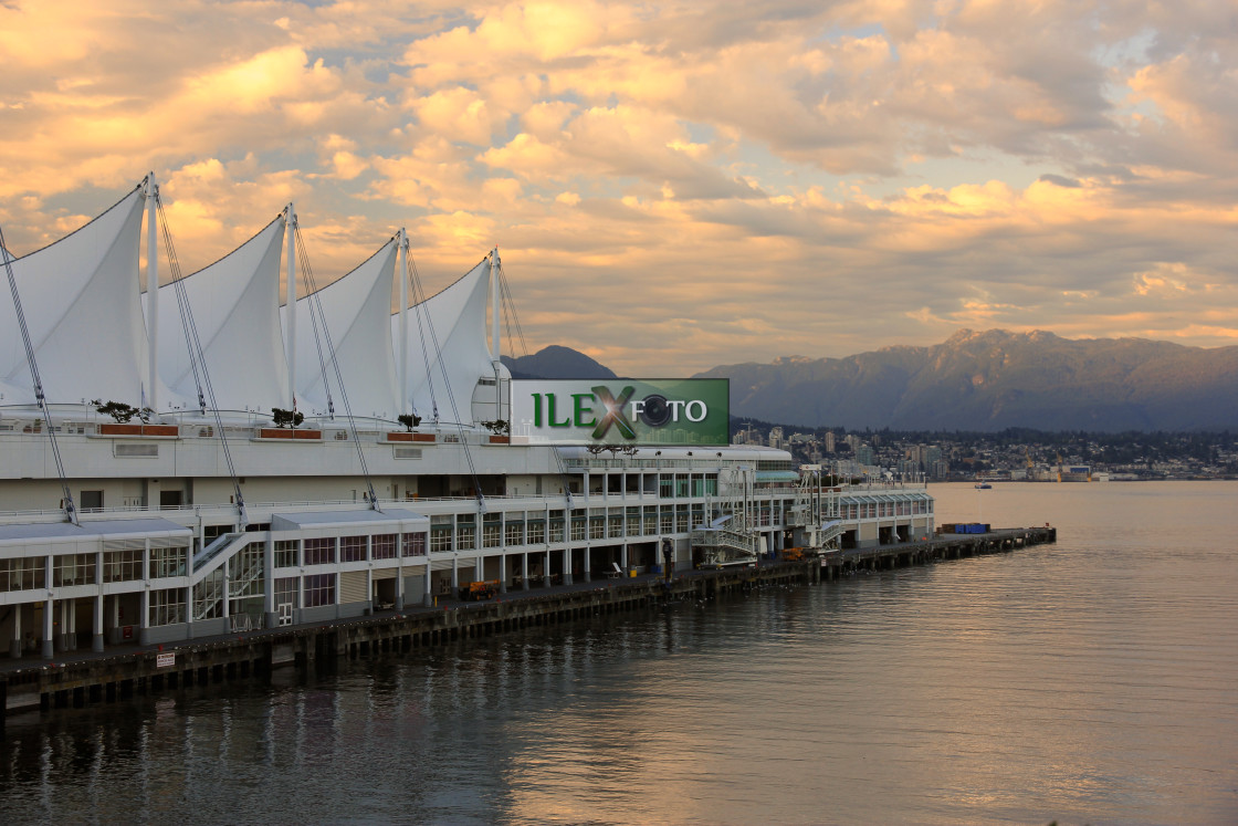 """""""Sunset on Canada Place in Vancouver harbor"""" stock image"""