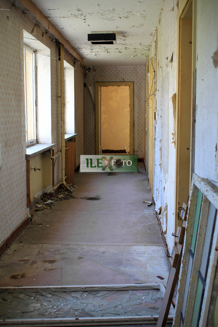 """Hallway inside Prora, ruins of a Nazi resort"" stock image"