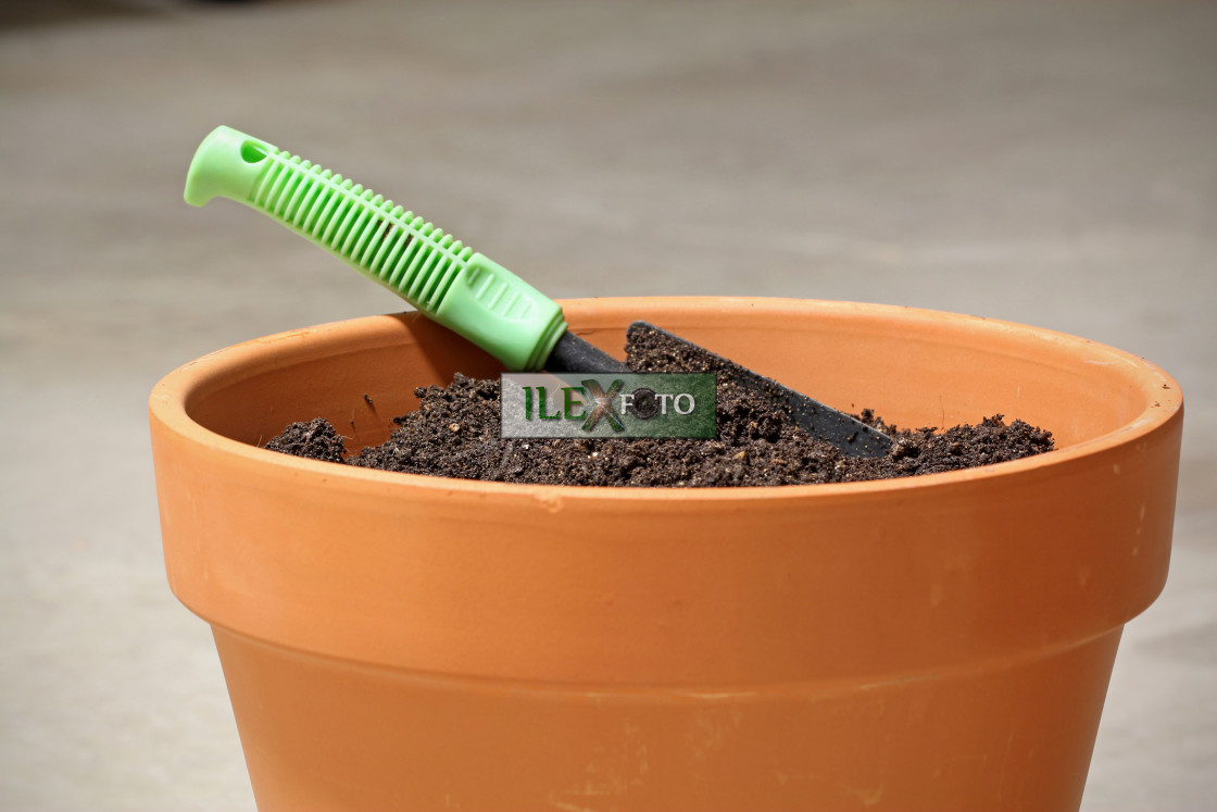 """""""pot with soil and spade"""" stock image"""