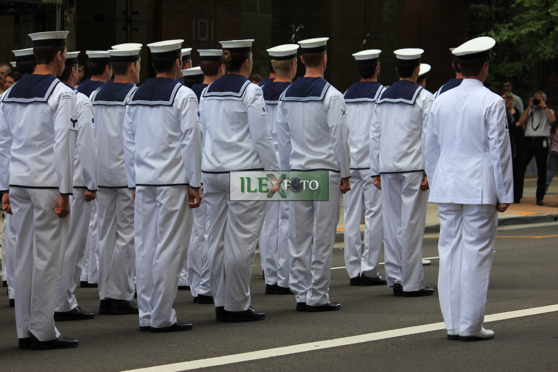 """Navy cadets on parade in North Sydney"" stock image"