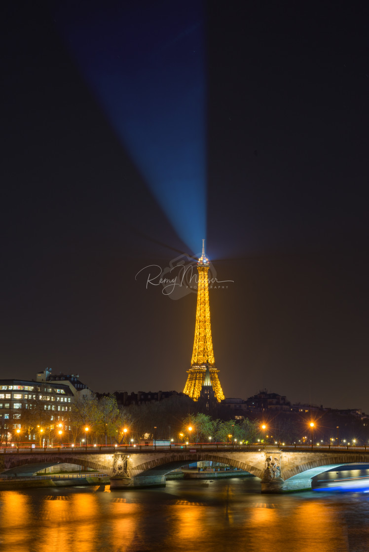 """""""The Eiffel tower at Paris from the river Seine in morning"""" stock image"""