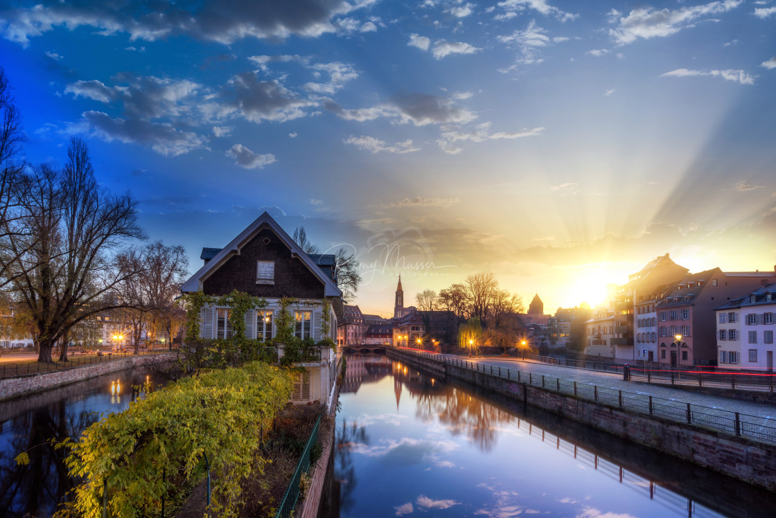 """Strasbourg, medieval bridge Ponts Couverts is located in the historic district ""Petite France""."" stock image"