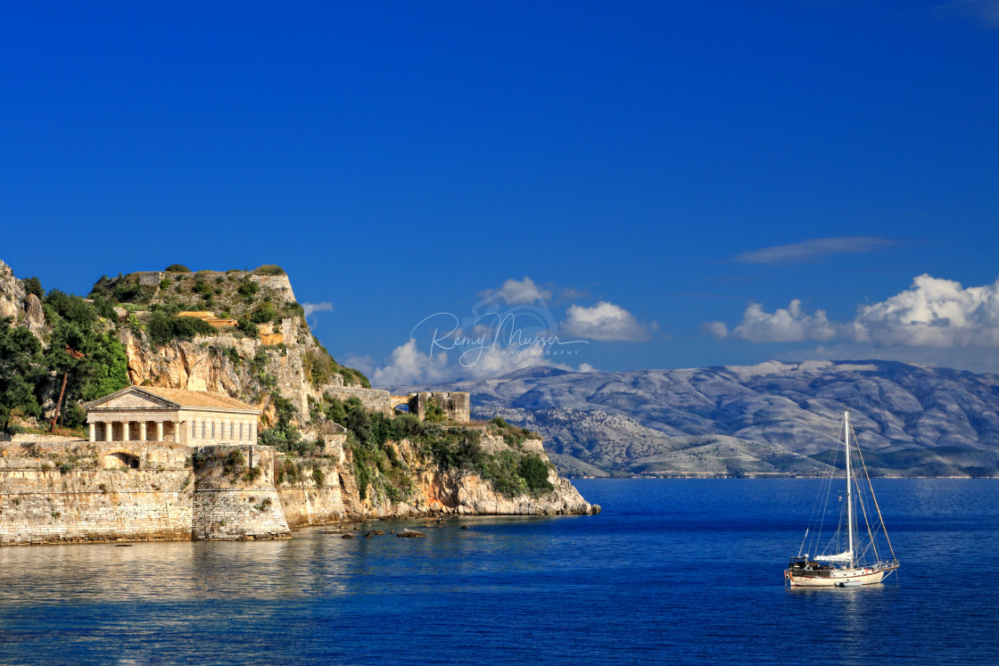 """Hellenic temple at Corfu island, Greece"" stock image"