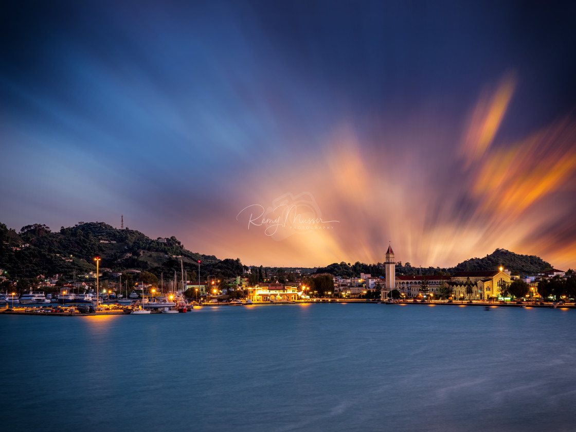 """sunset over in Zante town harbor, Zakinthos"" stock image"