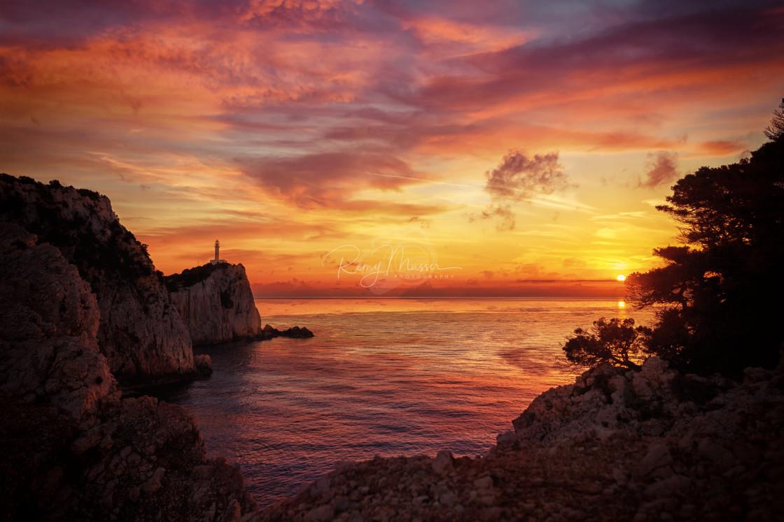 """Lefkas island lighthouse Greece"" stock image"