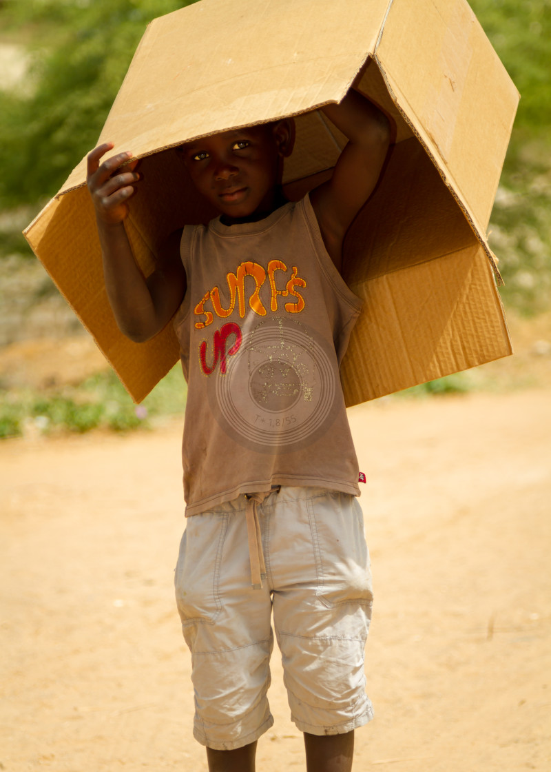 """Cardboard box boy"" stock image"