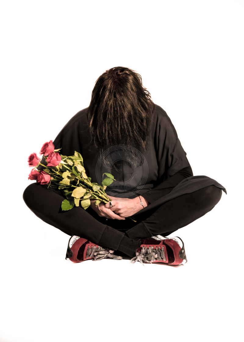 """""""Holding red roses"""" stock image"""