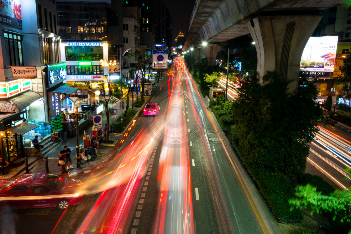 """Bangkok light trails night scene"" stock image"