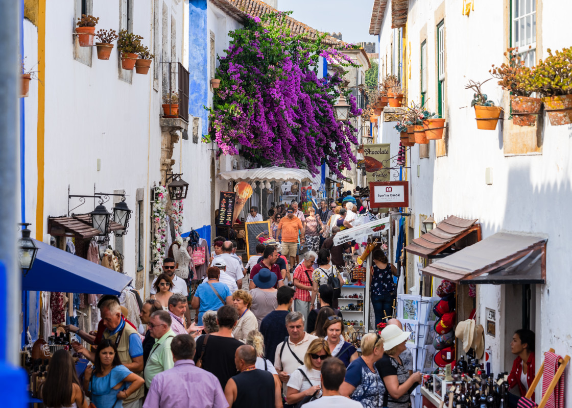 """Tourists in Obidos"" stock image"