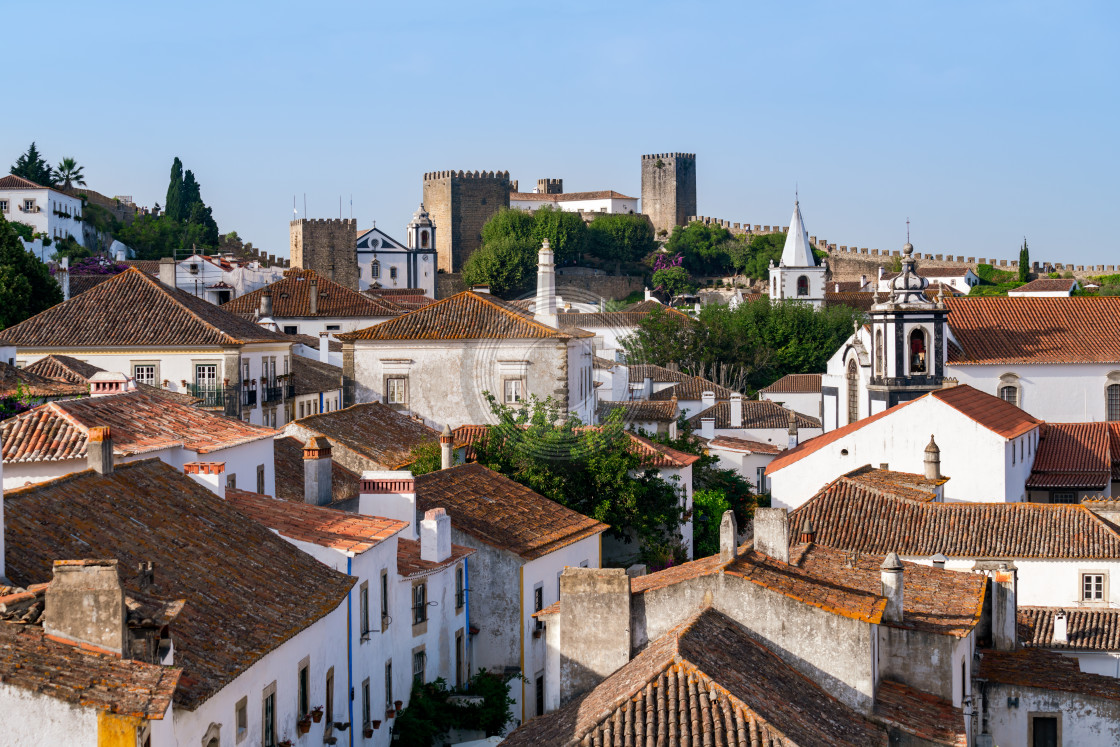 """Looking towards Obidos castle"" stock image"
