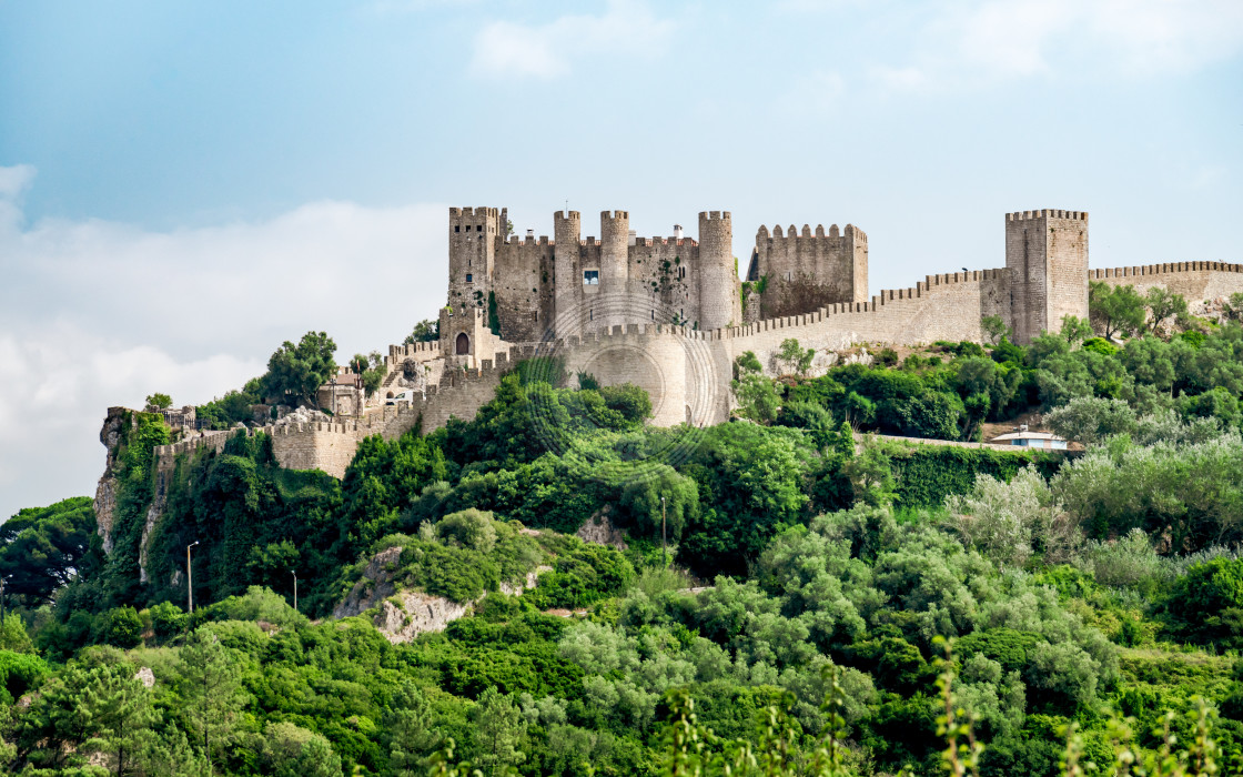 """Obidos castle on the hill"" stock image"