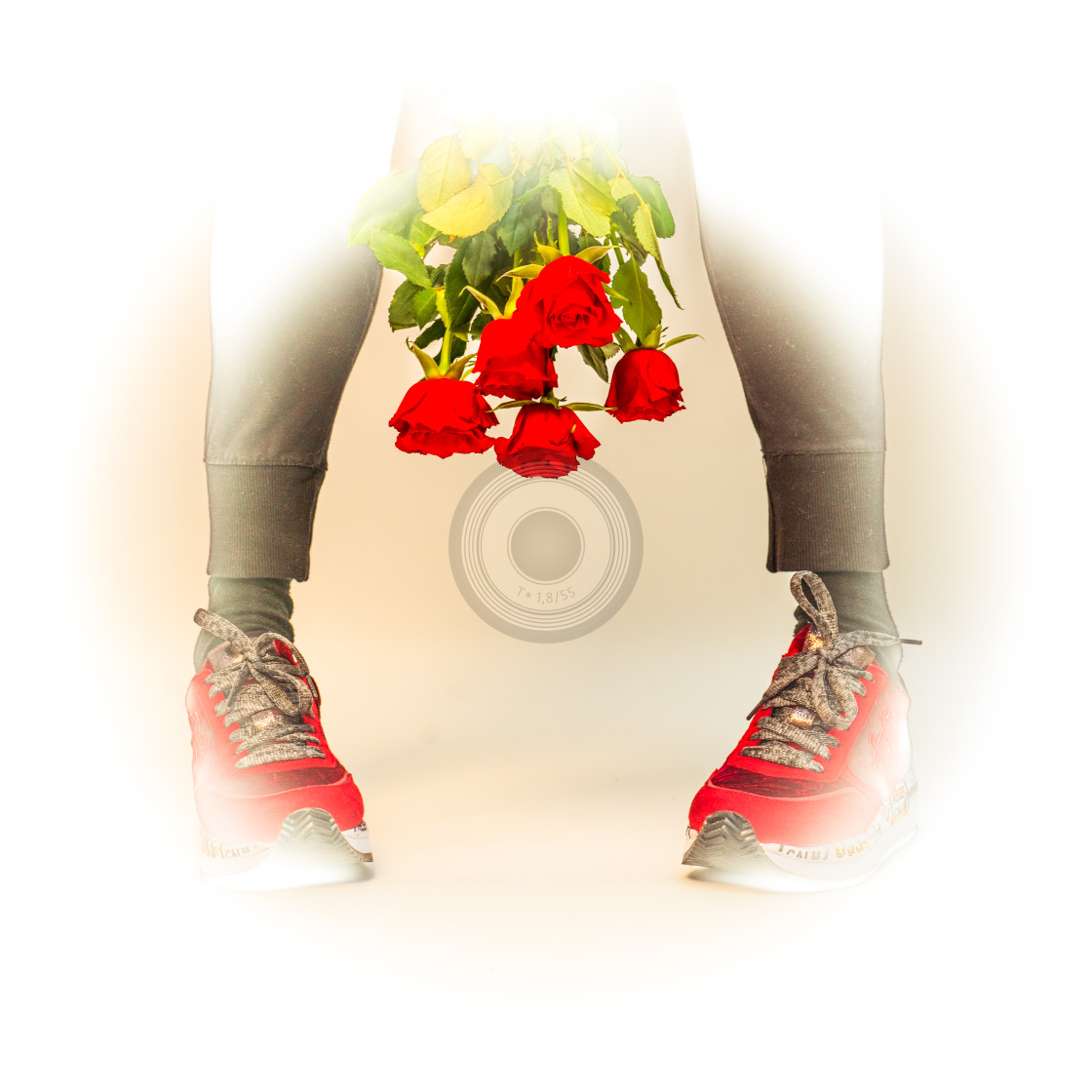 """Red roses and sneakers"" stock image"