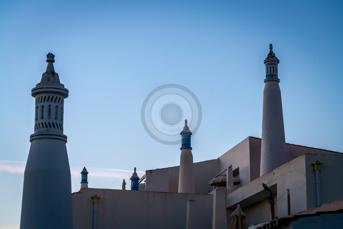 """Traditional Portuguese chimneys"" stock image"