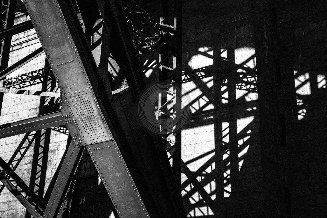 """Shadows of Tyne bridge"" stock image"