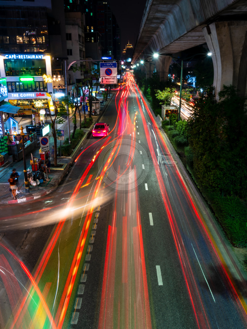 """Bangkok light trails"" stock image"