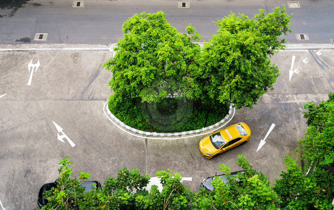 """Yellow Thai taxi cab"" stock image"
