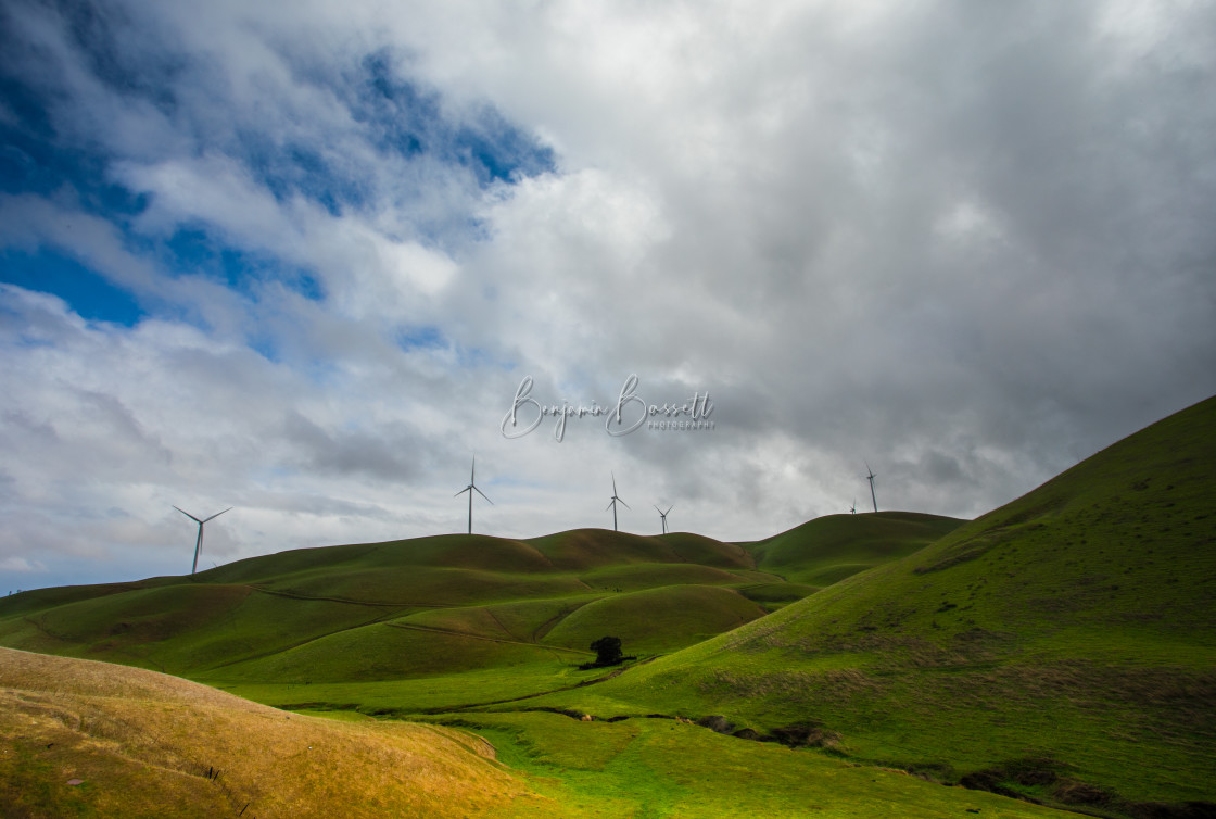 """""""Turbines on the Green"""" stock image"""