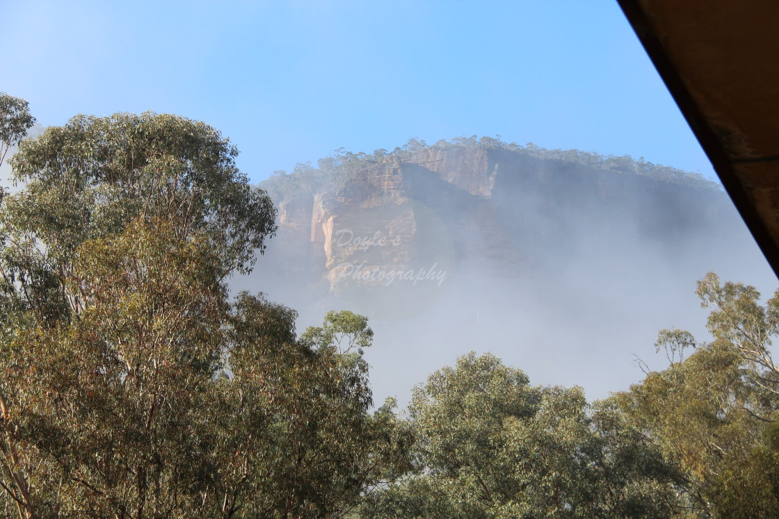 """Mist Rising to the Escarpment"" stock image"